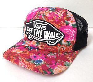 baa36578966 LikeNew! Womens VANS OFF THE WALL TRUCKER HAT Floral Tropical Pink ...