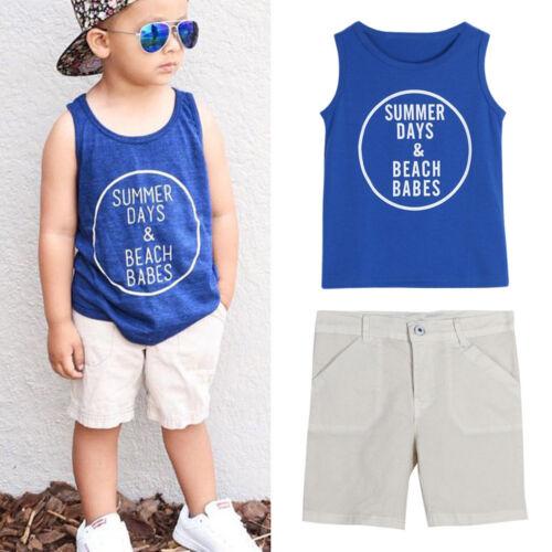 1Set Toddler Kid Baby Boys Letter Print Vest T-shirt+Short Pants Clothes Outfits