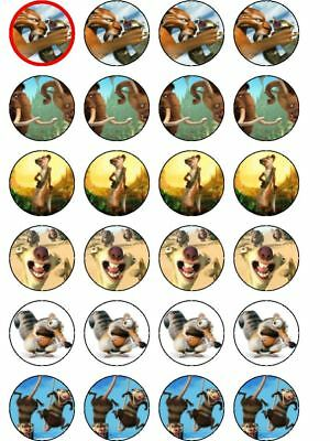 24 X PRE CUT ICE AGE MIXED BIRTHDAY WAFER PAPER CUP CAKE TOPPERS