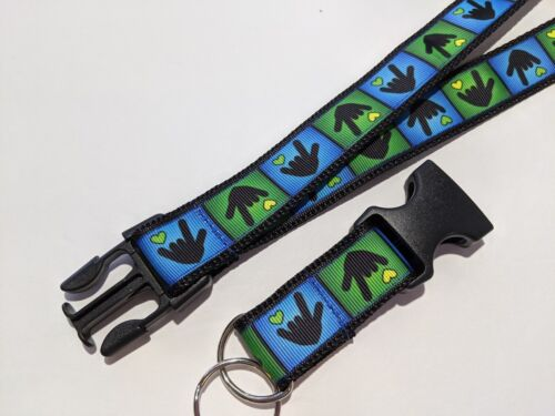 Blue /& Green Sign Language I Love You Hearts Deaf Removable Keychain Lanyard