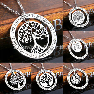 Tree-of-Life-Family-Gifts-Love-Dream-Hope-Trust-Words-Pendant-Necklace-Jewellery