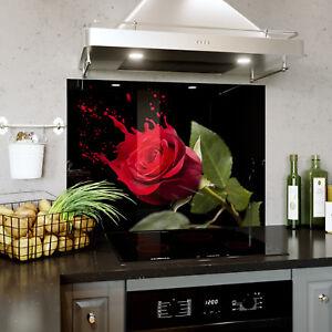 Détails sur Verre Splashback Cuisine & Salle De Bain Panel Toute Taille  Rose Rouge Splash Noir 0319- afficher le titre d\'origine
