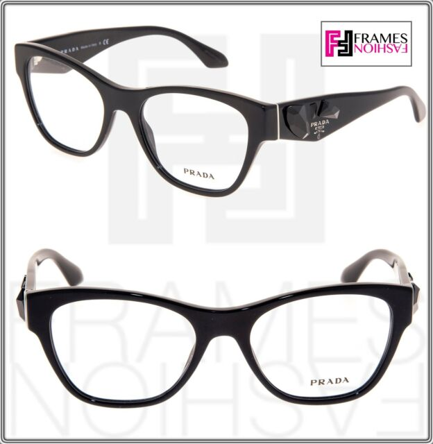 a7e3c1a2801 PRADA VOICE PR07RV Shiny Black Jewel Square Eyeglasses 07R RX Frame 53mm