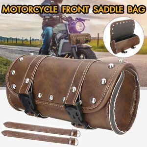 Motorcycle-PU-Leather-Vintage-Saddlebag-Roll-Tool-Luggage-Barrel-Storage-Brown