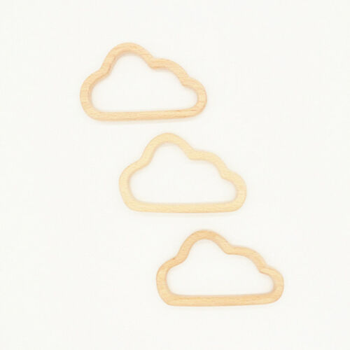New Baby Infant Cloud Shape Safety Wooden Teether Teething Chewing Toy Ring Z