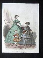 GRAVURE MODE 19e - JOURNAL DES DEMOISELLES - VERS 1880