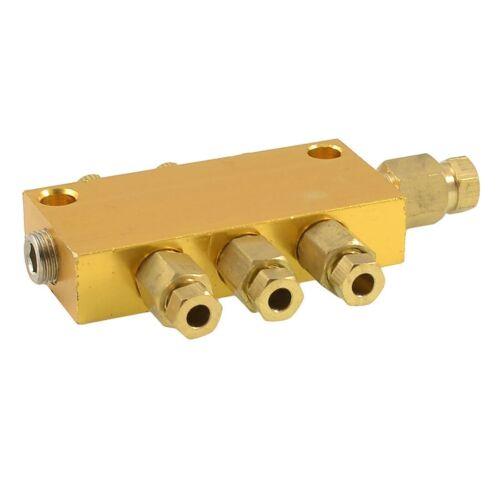 Latón 3 formas Distribuidor bloque colector de aceite ajustable 4 mm de entrada 6 mm Outbr