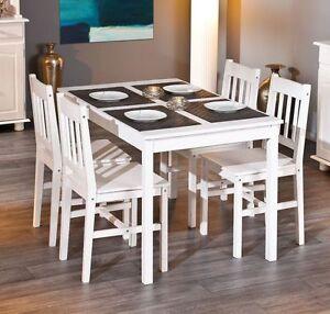 esstisch tisch mit vier st hlen kiefer massiv weiss lackiert woody 148 00556. Black Bedroom Furniture Sets. Home Design Ideas