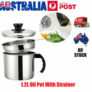 1-2L-Oil-Dripping-Container-Fry-Lard-Pot-Jug-Strainer-Strain-With-Lid-AU-Stock