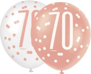 6-x-12-034-Rose-Gold-70-Latex-Balloons-Ladies-70th-Birthday-Party-Decoration-Helium