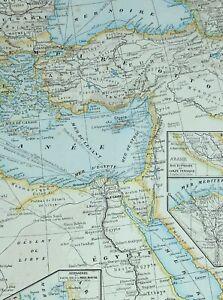 1905 Map Ottoman Empire Greece Bulgaria Egypt Cyprus Nile Delta