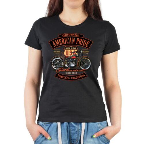 Biker Motiv Motorrad T-Shirt Usa Biker Shirt Damenshirt Style Damen Trägershirt