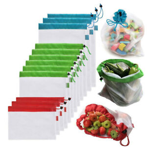 2-5Pack-Reusable-Produce-Bags-Black-Rope-Mesh-Vegetable-Fruit-Toys-Storage-Pouch