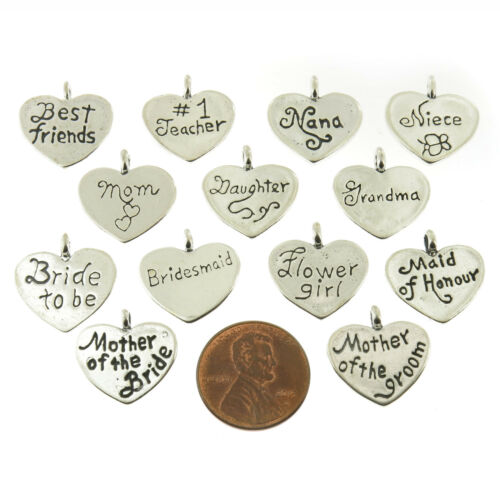 925 Sterling Silver Special Occasion Affirmation Heart Pendants American Made