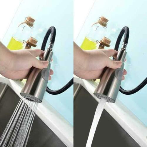 Kitchen Brushed Nickel Sink Faucet Pull Out Sprayer Single Hole Swivel Mixer Tap