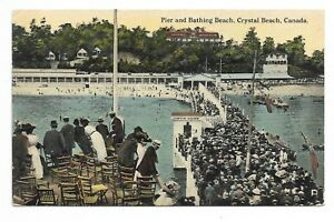 Welland-County-CRYSTAL-BEACH-ONTARIO-Pier-amp-Bathing-Beach-Circa-1912