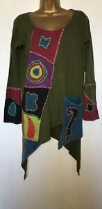 Nepalese-Tunic-Top-multi-coloured-print-boho-arty-hippy-casual-top-size-L
