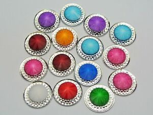 50-Mixed-Color-Acrylic-Flatback-Round-Rivoli-Rhinestone-Gems-18mm-Pyramid-Center