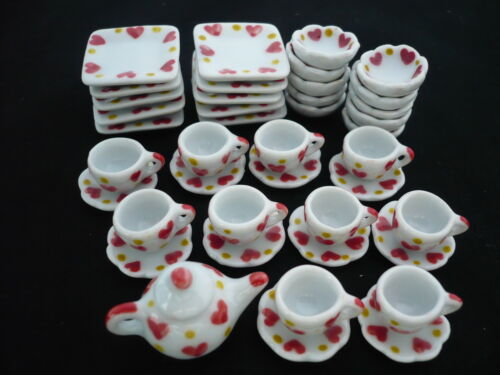 41 P Hand  Painted Heart  Coffee Set Dollhouse Miniatures Ceramic Supply Food