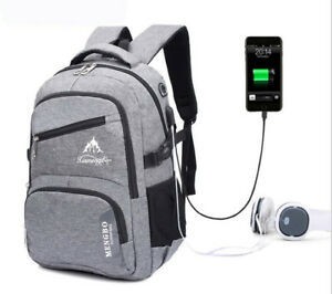 Men-039-s-USB-Charging-Headset-hole-eyelet-Laptop-Backpack-Travel-School-Bag