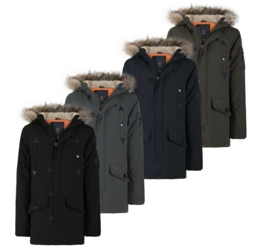 BRAVE SOUL BOYS KIDS BACK TO SCHOOL MILITARY FUR HOODED PARKA JACKET WINTER COAT