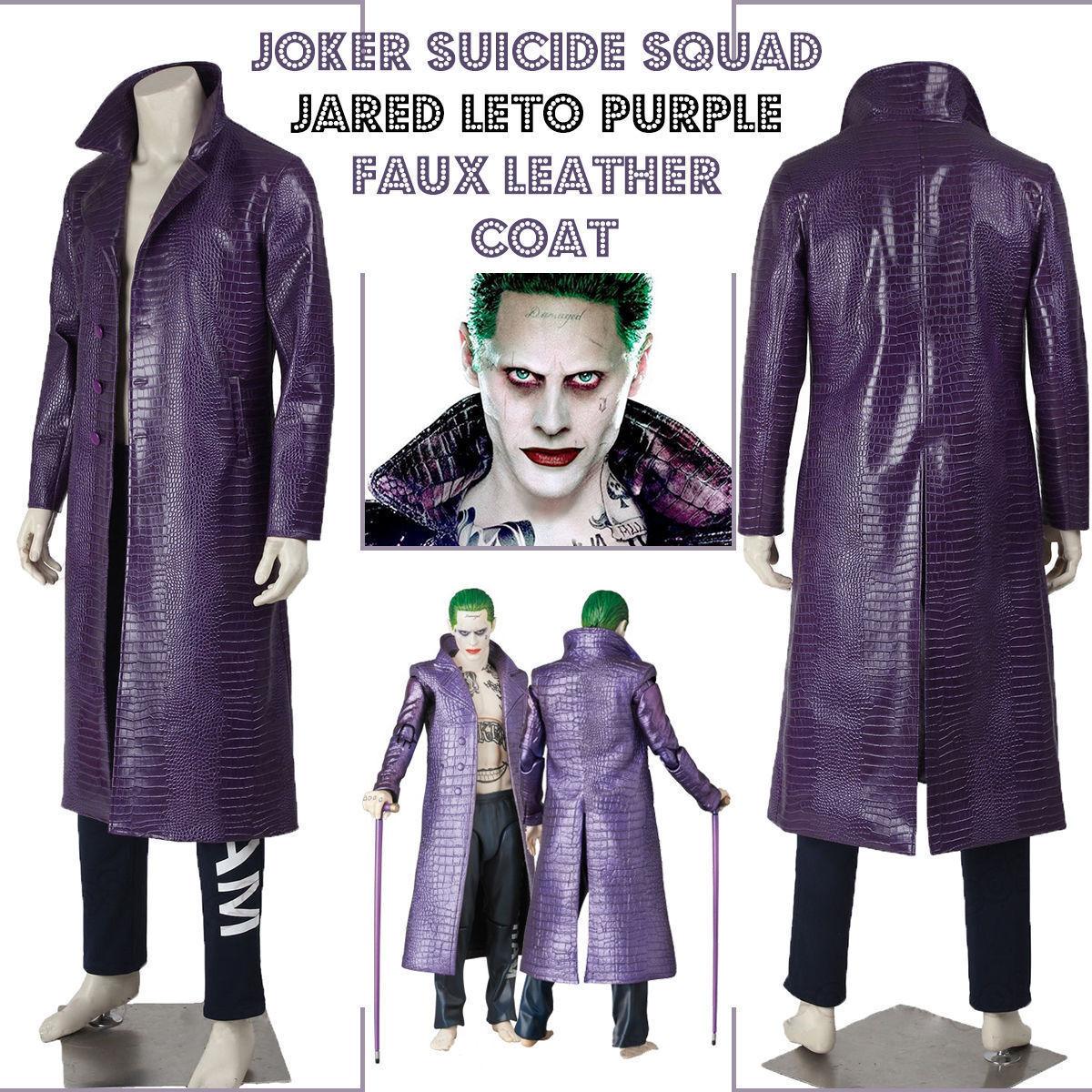 Jarosso Leto Joker Halloween Trench Suicide Squad Crocodile Synthetic Synthetic Crocodile Pelle Cappotto 2621b5