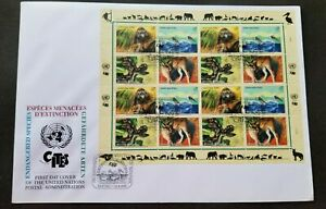 [SJ] United Nations Endangered Species 1999 Monkey Snake Wild Cat Bird (FDC)