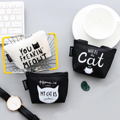 Cat Pattern Letter Design Women Coin Purse Wallet Earphone Card Key Storage Bag