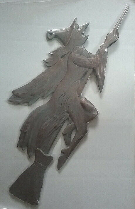 Wicked Witch Metal Weathervane Roof or Garden Stake Flying On Broom NEW Sealed
