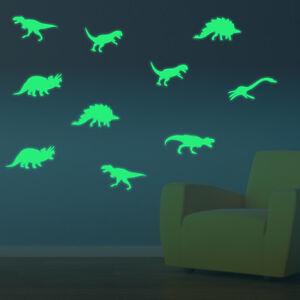 Dinosaurier-9er-Set-Aufkleber-nachts-leuchtend-Deko-Dino-Sticker-fluoreszierend