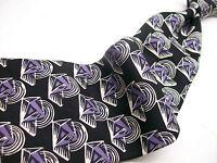 POLO  Lauren   Black/purple ABSTRCT  Mens 100 SILK  Necktie s 6-2B  6
