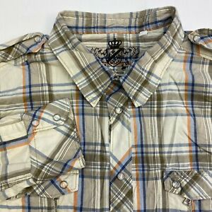 Guess-Button-Up-Shirt-Men-039-s-Size-2XL-Long-Sleeve-Beige-Gray-Plaid-Casual-Cotton