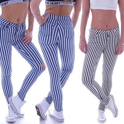 337cfe3ceeb9e Röhrenjeans Röhren Jeans Skinny Stoffhose Hose Röhre Streifen Slim ...
