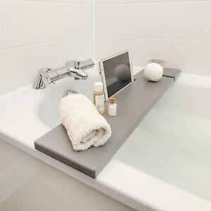 Détails sur Bath rack gris en bois Salle de bain Board Caddy Tray Tablette  Téléphone Slot Vin Porte-verre- afficher le titre d\'origine