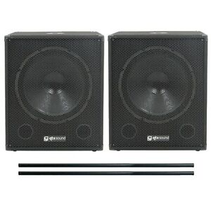 QTX-QT18SA-Active-Powered-Subwoofers-Subs-PAIR-amp-FREE-80cm-Speaker-Poles