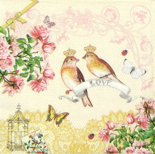 4x Paper Napkins for Decoupage Decopatch Craft Love Birds