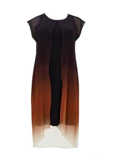 KURVY Boutique Noir Ombre Imprimé Robe Taille 16-28