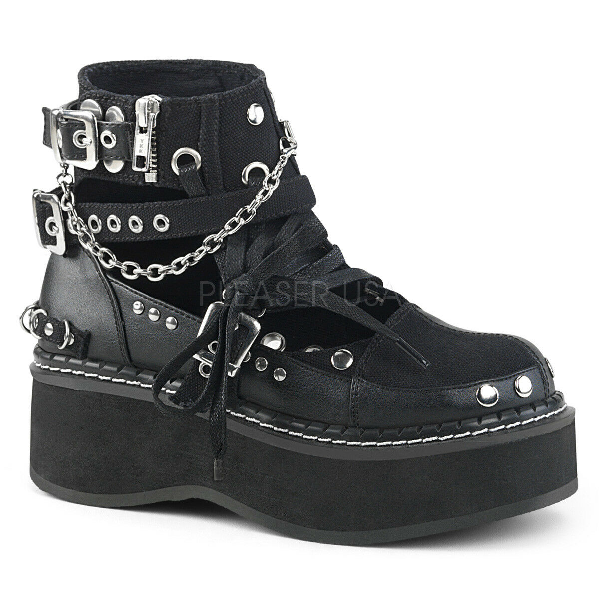 Demonia Negro Lona Hebilla Cadena 2  Plataforma botas botas botas Punk Goth Stud recorte 6-12  grandes ofertas