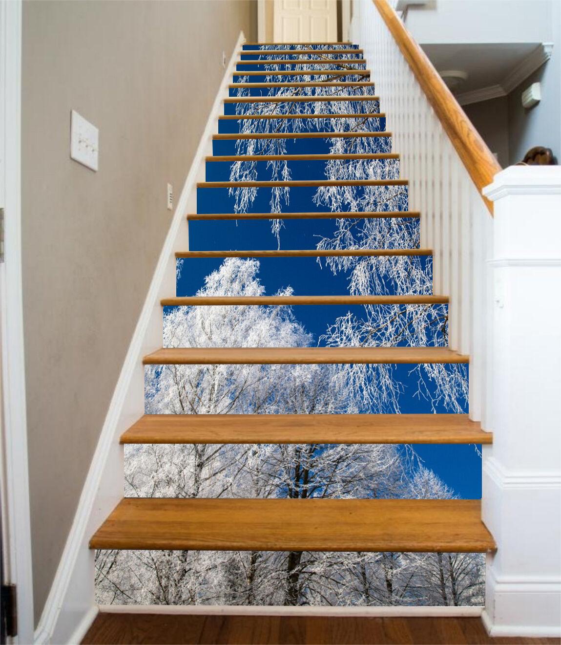 3D Winter Baum 868 Stair Risers Dekoration Fototapete Vinyl Aufkleber Tapete DE