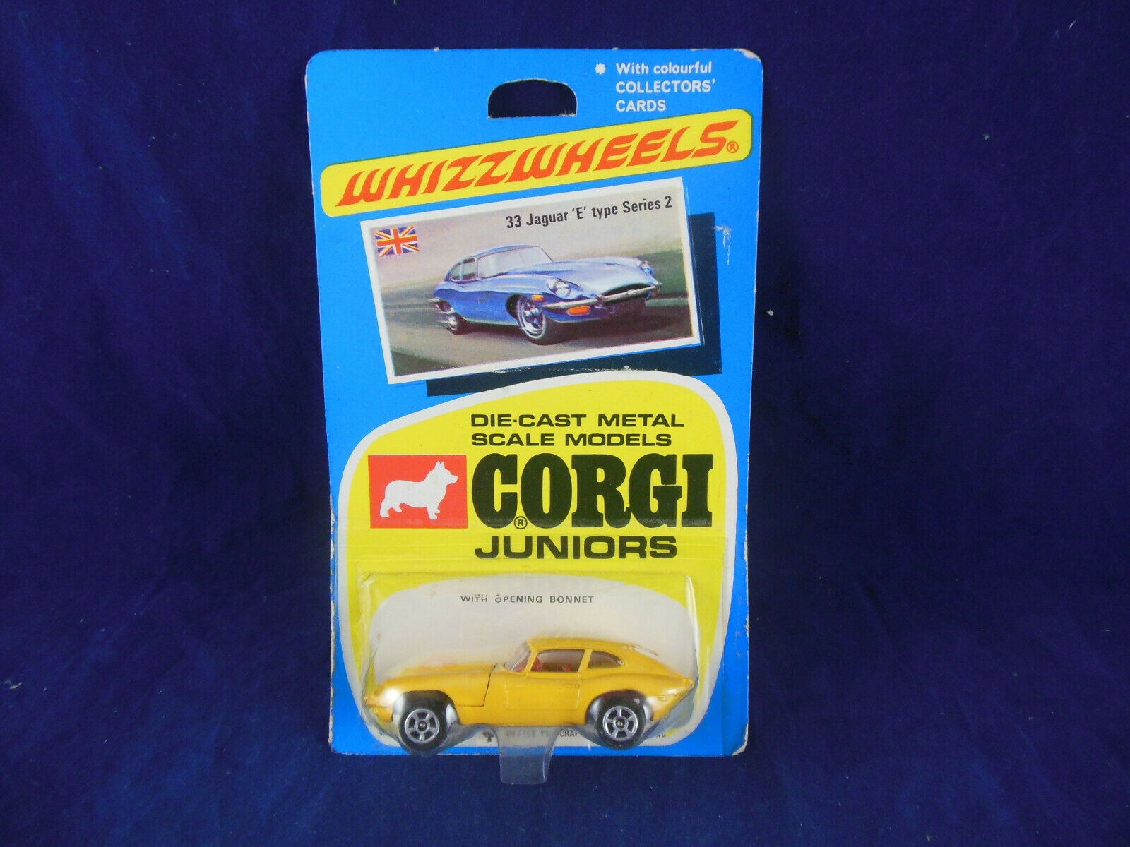 Raro 1970 Corgi Juniors no.33 Jaguar 'e' tipo serie 2 COUPE giallo Whizzwheels