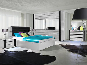Das Bild Wird Geladen Schlafzimmer Set Hochglanz Weiss Bett Schrank 2 X