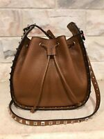 Valentino Rockstud Brown Leather Small Crossbody Hobo Messenger Bucket Bag