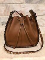 Valentino Rockstud Brown Leather Small Crossbody Hobo Messenger Bucket Bag