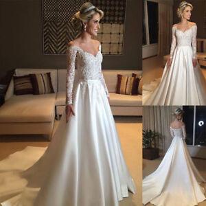 de9f739dba5 Image is loading Elegant-Long-Sleeves-Wedding-Dresses-Lace-Off-Shoulder-
