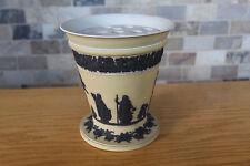 Large Vintage Wedgwood Yellow Jasper Ware Footed Trumpet Vase (c.1930)
