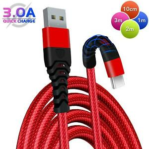 HeavyDuty-USB-C-Type-C-Charging-Cable-Braided-Fast-Phone-Charger-Long-Lead-2m-3m
