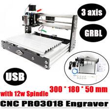 New Listingmini Cnc 3018 Pro Desktop Engraving Machine Diy Milling Woodworking Router 12w