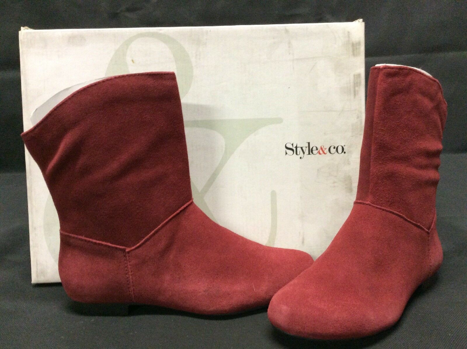 Style&co BRUCE Women's  Boots, Red Suede, Size 5.5 M