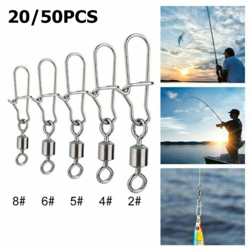 50x Stainless Steel Fishing Bearings Hooked Snap Pins Rolling Swivel Connector