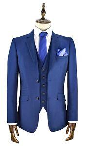 Hombres-3-Pieza-Azul-Real-Ajustado-Suit-Perfecto-Traje-de-Boda